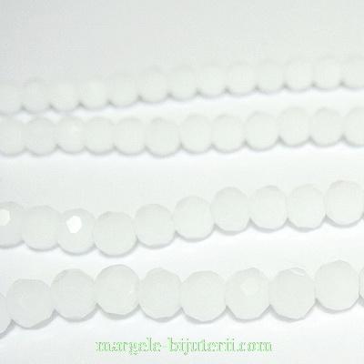Margele sticla, multifete, albe, 4mm 10 buc