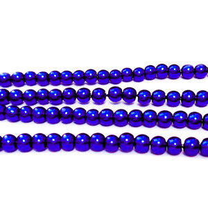 Perle sticla, albastru-violet, 3-4mm 10 buc
