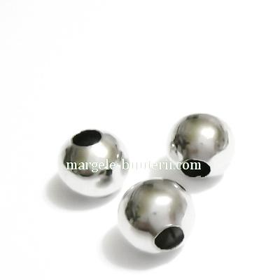 Margele metalice argintiu inchis, 10mm 1 buc