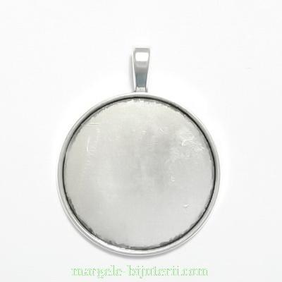 Baza cabochon, argint tibetan, pandantiv, 43x33mm, interior 30mm 1 buc