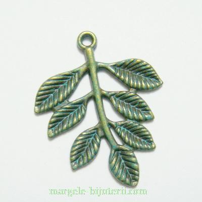Pandantiv frunza bronz, colorata verde, 35x28mm 1 buc