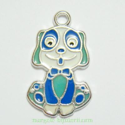 Pandantiv metalic, emailat, alb-albastru-turcoaz, catel, 27x16mm 1 buc