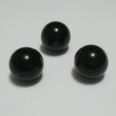 Margele plastic sferice, negre,  12mm 1 buc