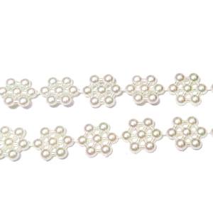 Perle plastic, crem, insiruite pe ata, 10x10x3mm 1 m