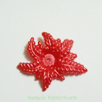 Floare plastic, perlata, rosu-caramiziu, 36x30x6mm 1 buc