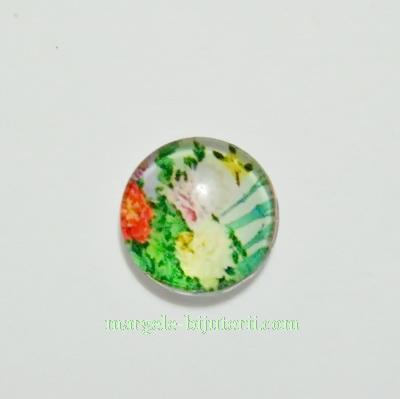 Cabochon sticla, 10mm, cu flori, model 7 1 buc