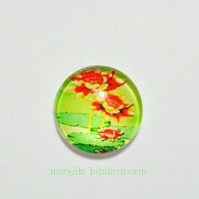 Cabochon sticla, 10mm, cu flori, model 8 1 buc