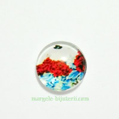 Cabochon sticla, 10mm, cu flori, model 20 1 buc