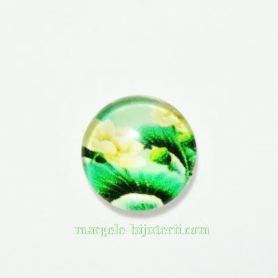 Cabochon sticla, 10mm, cu flori, model 24 1 buc