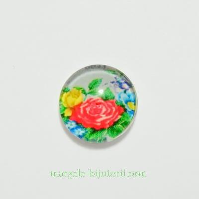 Cabochon sticla, 10mm, cu flori, model 27 1 buc