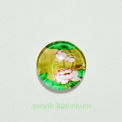 Cabochon sticla, 10mm, cu flori, model 28 1 buc