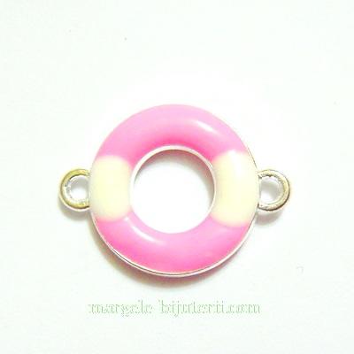 Conector/link metalic, emailat, rotund, roz-alb, 16x10mm 1 buc