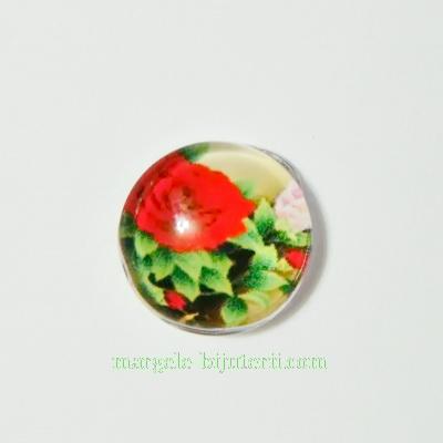 Cabochon sticla, 10mm, cu flori, model 40 1 buc