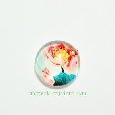 Cabochon sticla, 10mm, cu flori, model 47 1 buc