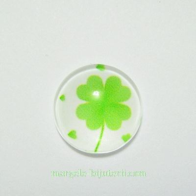 Cabochon sticla, cu trifoi, 12mm, model 2 1 buc