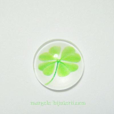 Cabochon sticla, cu trifoi, 12mm, model 3 1 buc