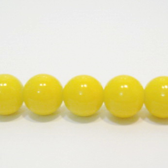 Margele sticla rotunde galbene 12mm 1 buc