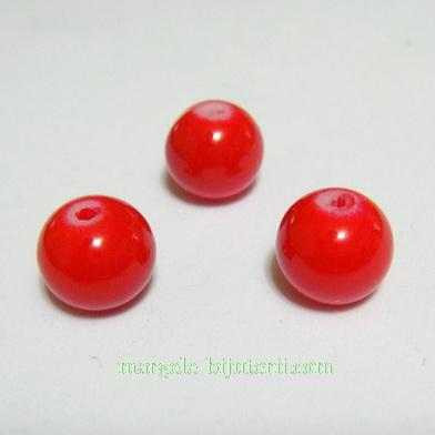 Margele sticla vopsite rosii, 8mm 10 buc