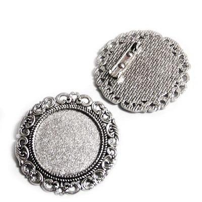 Baza cabochon, argint tibetan, brosa 39mm, interior 25mm 1 buc