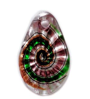 Pandantiv Murano mov cu auriu, argintiu si verde, 57x16~35x10mm 1 buc