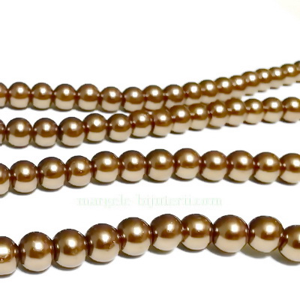 Perle sticla maro-galbui, 6mm 10 buc
