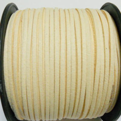 Snur faux suede, crem, grosime 3x1.5mm 1 m