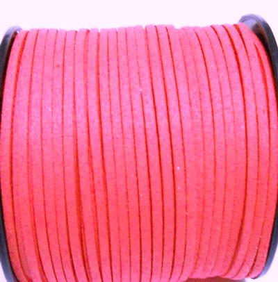 Snur faux suede, roz intens, grosime 3x1.5mm  1 m