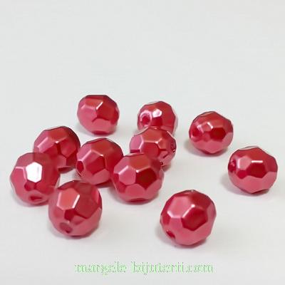 Perle plastic, multifete, rosu-grena, 8mm 10 buc