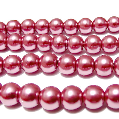 Perle sticla mov-roz 8mm 10 buc