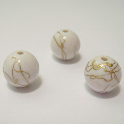 Margele plastic alb cu auriu 10mm 10 buc