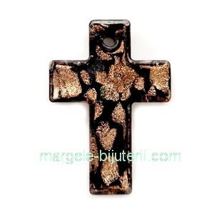 Pandantiv Murano negru cu auriu, cruciulita 50x35x5mm 1 buc