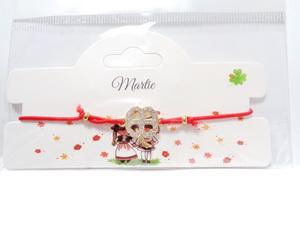 Bratara fixa, metalica, aurie cu margele albe si rosii 1 buc