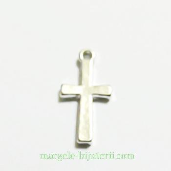 Pandantiv cruciulita, argintiu inchis, 18x10x2mm 1 buc