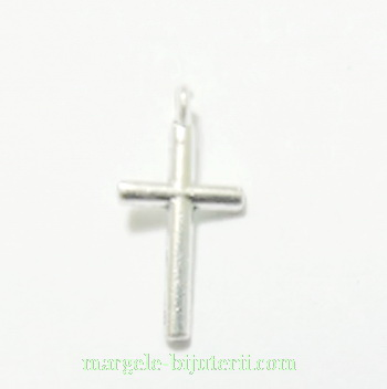 Pandantiv cruciulita, argintiu antic, 17x8x1.5mm 1 buc