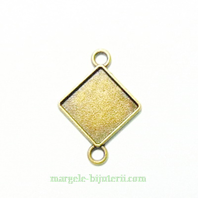 Conector / link cabochon, bronz, rombic, 32x23mm, interior: 15x15mm 1 buc
