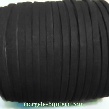 Snur faux suede, negru, grosime 6x1.5mm 1 m
