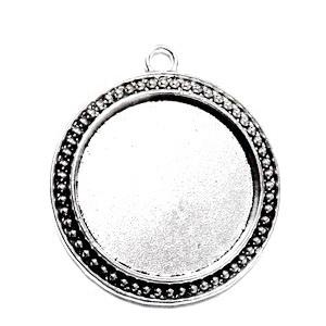 Baza cabochon, argint tibetan, pandantiv, 43x32mm, interior 18x13mm 1 buc