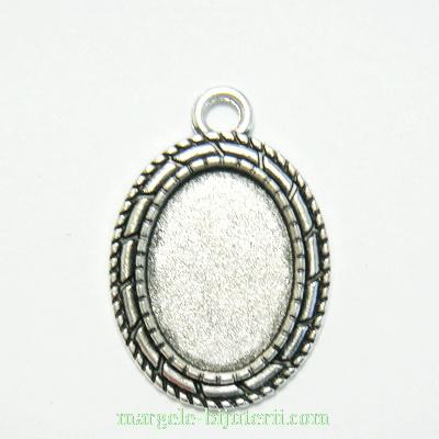 Baza cabochon, argint tibetan, pandantiv, 30x20mm, interior 18x13mm 1 buc