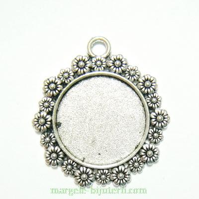 Baza cabochon, argint tibetan, pandantiv, 34x31mm, interior 20mm 1 buc