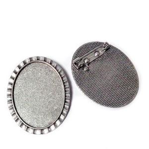 Baza cabochon, argint tibetan, brosa 47x37mm, interior 40x30mm 1 buc