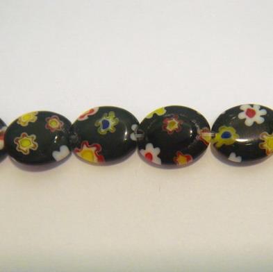 Margele sticla millefiorii negre ovale 10x8mm 1 buc