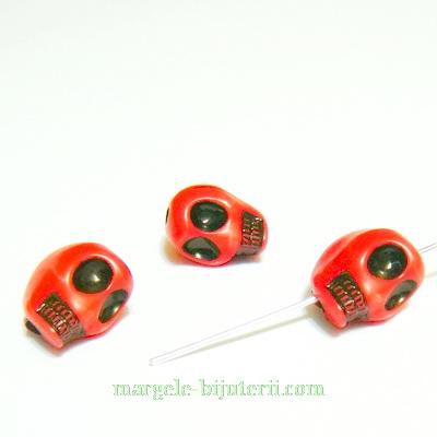 Margele plastic rosu, craniu, 12x10mm 1 buc