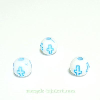 Margele plastic alb cu cruciulite bleu, 6mm 10 buc