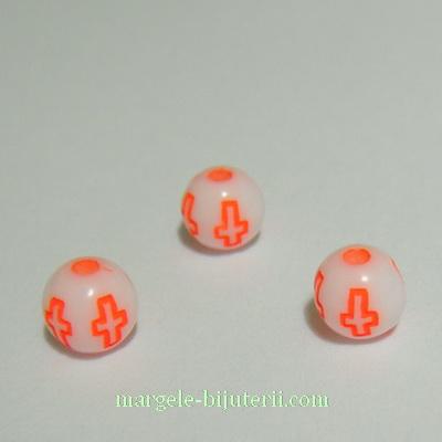 Margele plastic alb cu cruciulite portocaliu-neon, 6mm 10 buc