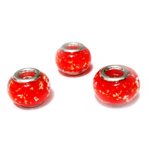 Margele sticla tip Murano, Pandora, rosii cu picatele aurii, 14x10mm 1 buc