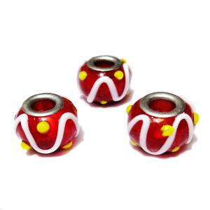 Margele sticla tip Murano, Pandora, rosii cu alb si galben, 14x10mm 1 buc