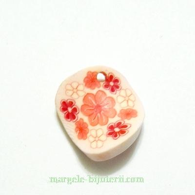 Margele fimo, rasucite, albe cu floricele roz, 16x16x2mm 1 buc
