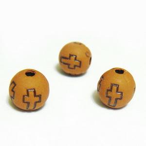 Margele plastic, imitatie lemn, cu cruciulite, maro, 8mm 10 buc
