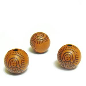 Margele plastic, imitatie lemn, cu ingeras, maro, 10mm 10 buc
