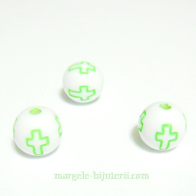 Margele plastic alb, cu cruciulite verde deschis, 8mm 10 buc